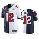 Men's Patriots Buccaneers #12 Tom Brady Navy White Split Two Tone Limited Jersey Stitched SB Patch