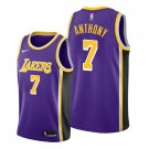 Men's #7 Carmelo Anthony Los Angeles Lakers Purple Statement Swingman Jersey Stitched