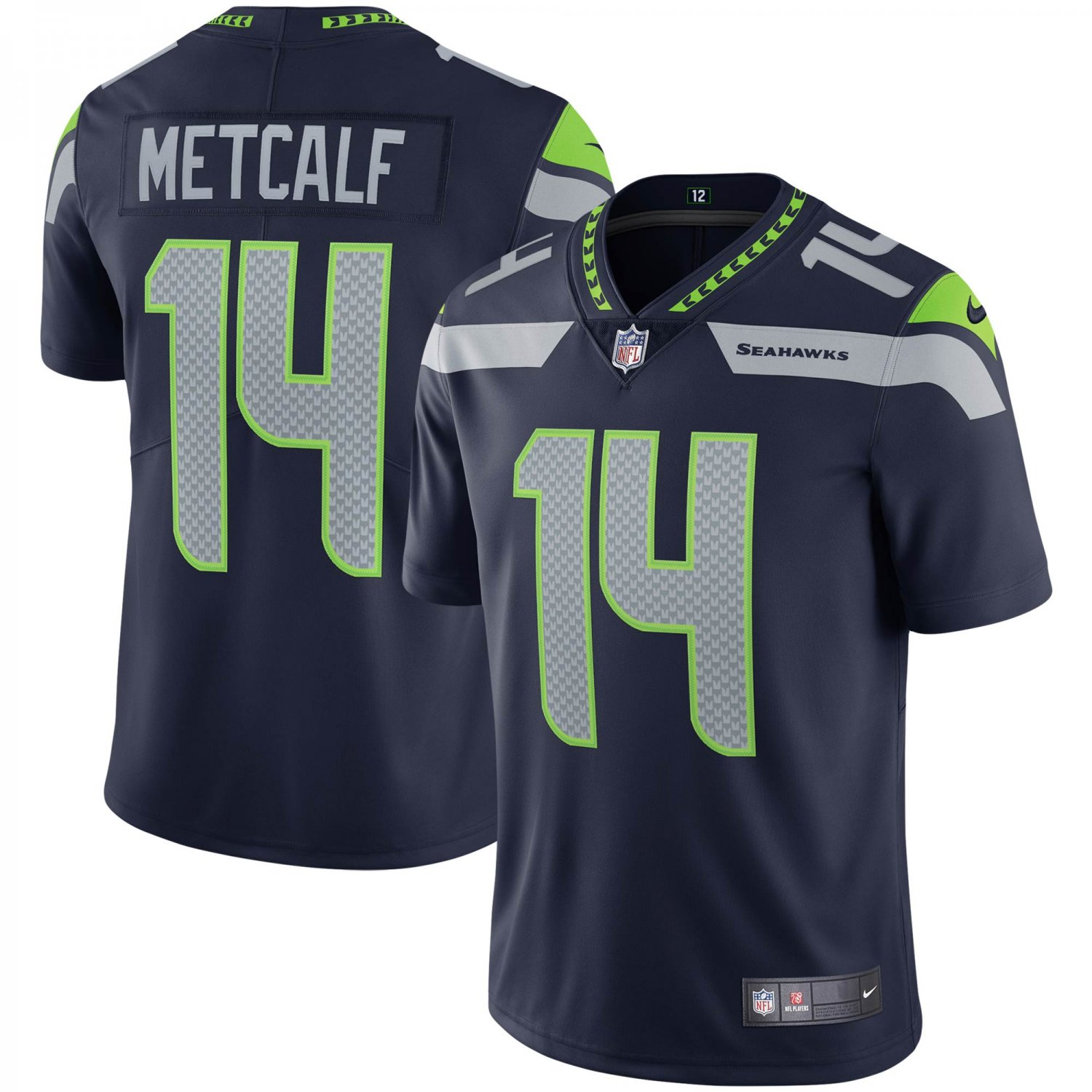 Men's/Youth #14 DK Metcalf Seattle Seahawks Football Vapor Limited Navy Jersey Stitched
