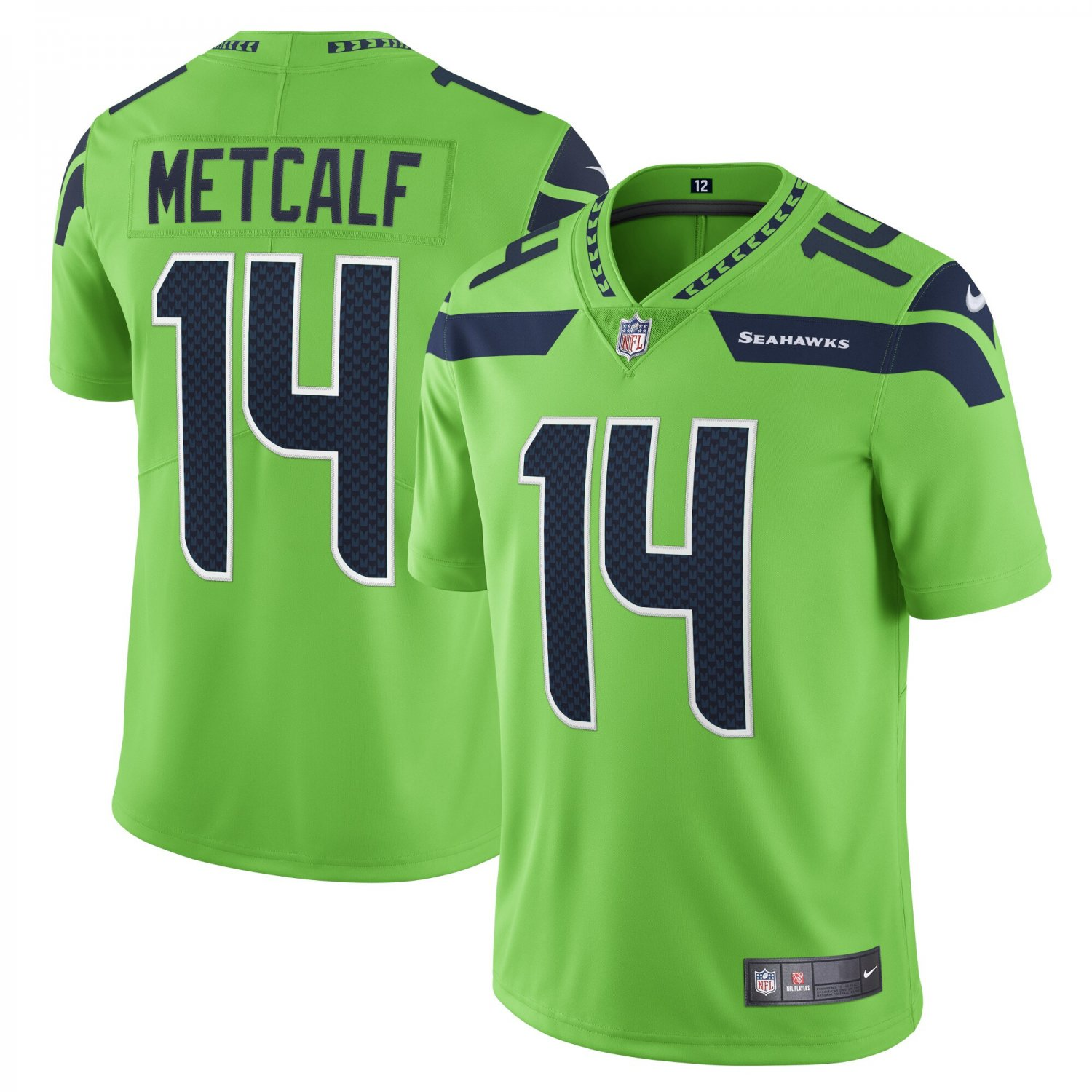Men's/Youth #14 DK Metcalf Seattle Seahawks Football Vapor Limited Neon Green Jersey Stitched