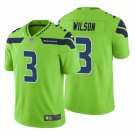 Men's #3 Russell Wilson Seattle Seahawks Neon Green Vapor Limited Jersey Stitched