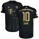 Men's #10 Leroy Sané Bayern Munich Black Away Soccer Jersey Shirts Bundesliga 2021-22