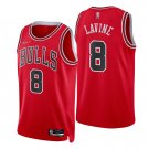 Men's #8 Zach Lavine Chicago Bulls Red Icon 2021-22 Diamond Stitched Jersey 75th Anniversary