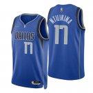 Men's #17 Frank Ntilikina Dallas Mavericks Blue Icon 2021-22 Diamond Jersey 75th Anniversary