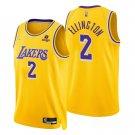 Men's #2 Wayne Ellington Los Angeles Lakers Yellow Icon 2021-22 Diamond Jersey 75th Anniversary
