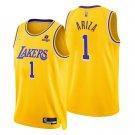 Men's #1 Trevor Ariza Los Angeles Lakers Yellow Icon 2021-22 Diamond Jersey 75th Anniversary