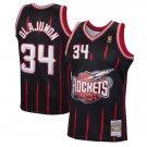 Men's #34 Hakeem Olajuwon Houston Rockets 1996-97 Hardwood Classics Black Stitched Jersey