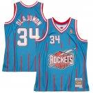 Men's #34 Hakeem Olajuwon Houston Rockets 1996-97 Hardwood Classics Light Blue Stitched Jersey