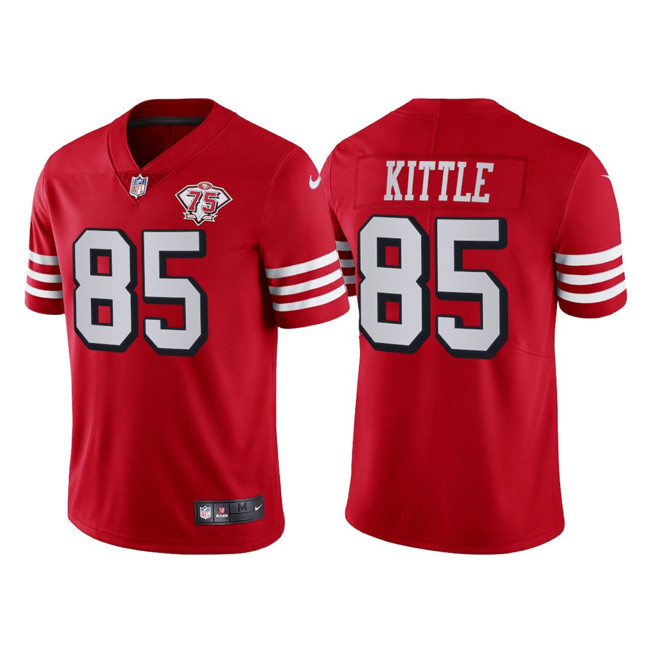 Men's #85 George Kittle San Francisco 49ers Red Throwback Limited Jersey 75th Anniversary Stitched
