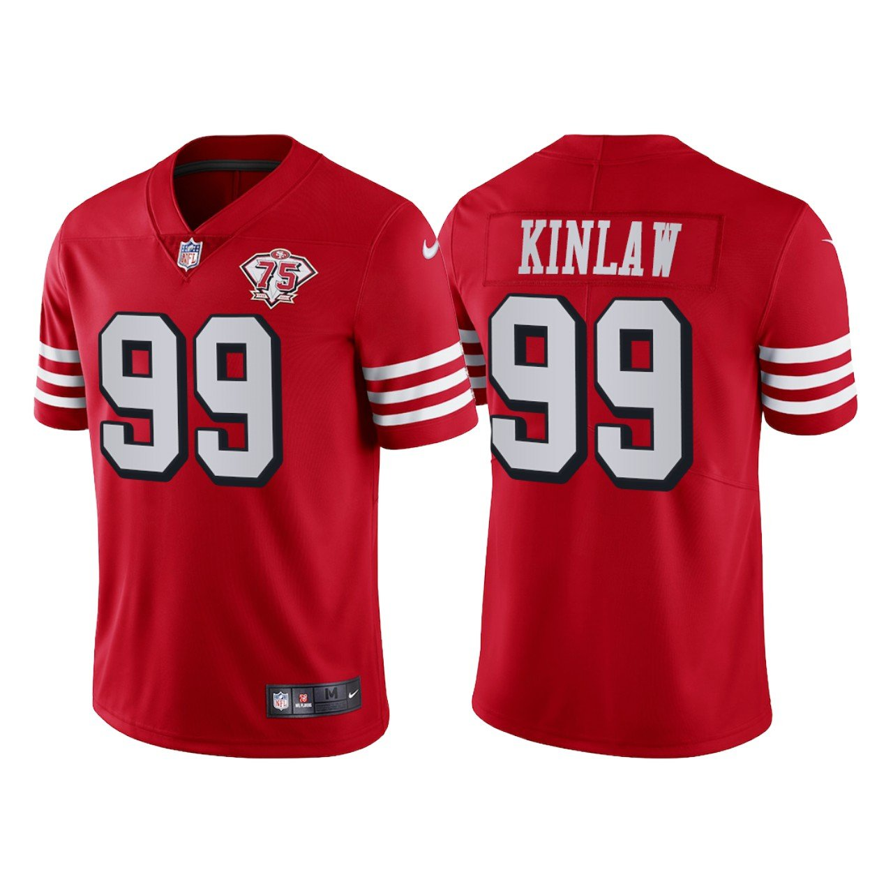 Men's #99 Javon Kinlaw San Francisco 49ers Red Throwback Limited Jersey 75th Anniversary Stitched