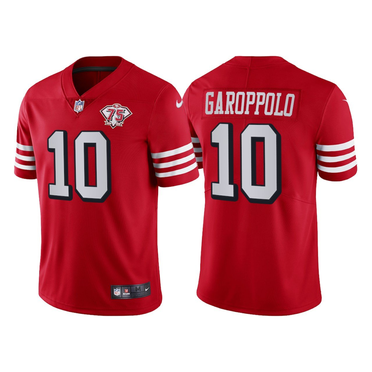 Men's #10 Jimmy Garoppolo San Francisco 49ers Red Throwback Limited Jersey 75th Anniversary Stitched