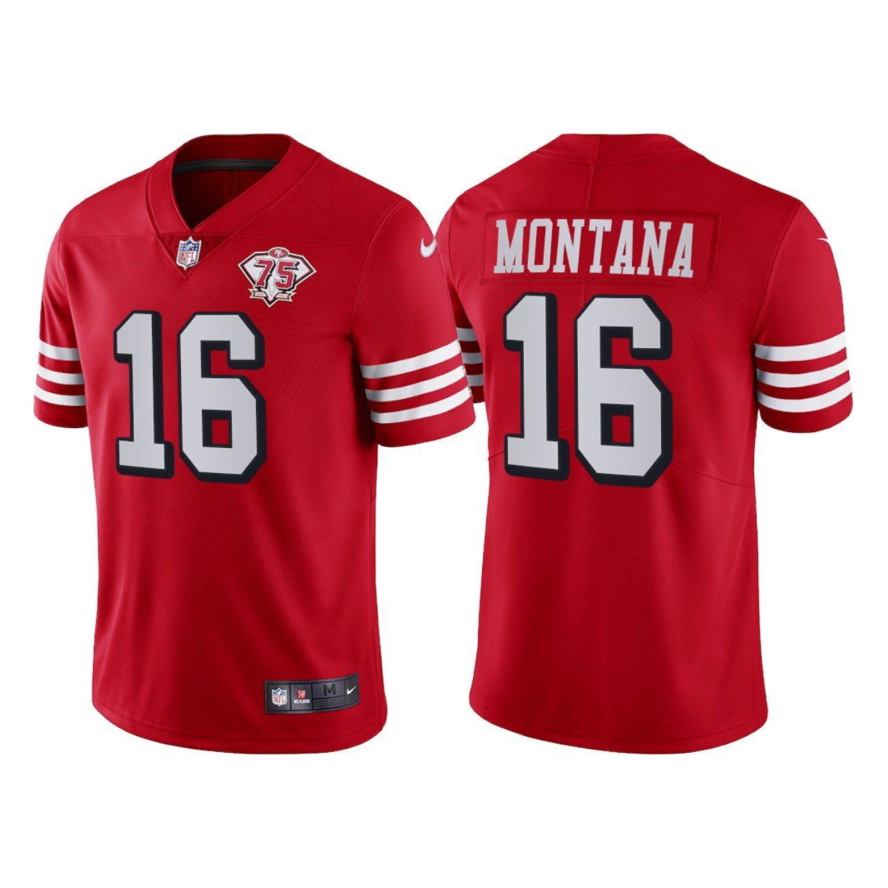 Men's #16 Joe Montana San Francisco 49ers Red Throwback Limited Jersey 75th Anniversary Stitched
