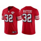 Men's #32 Ricky Watters San Francisco 49ers Red Throwback Limited Jersey 75th Anniversary Stitched