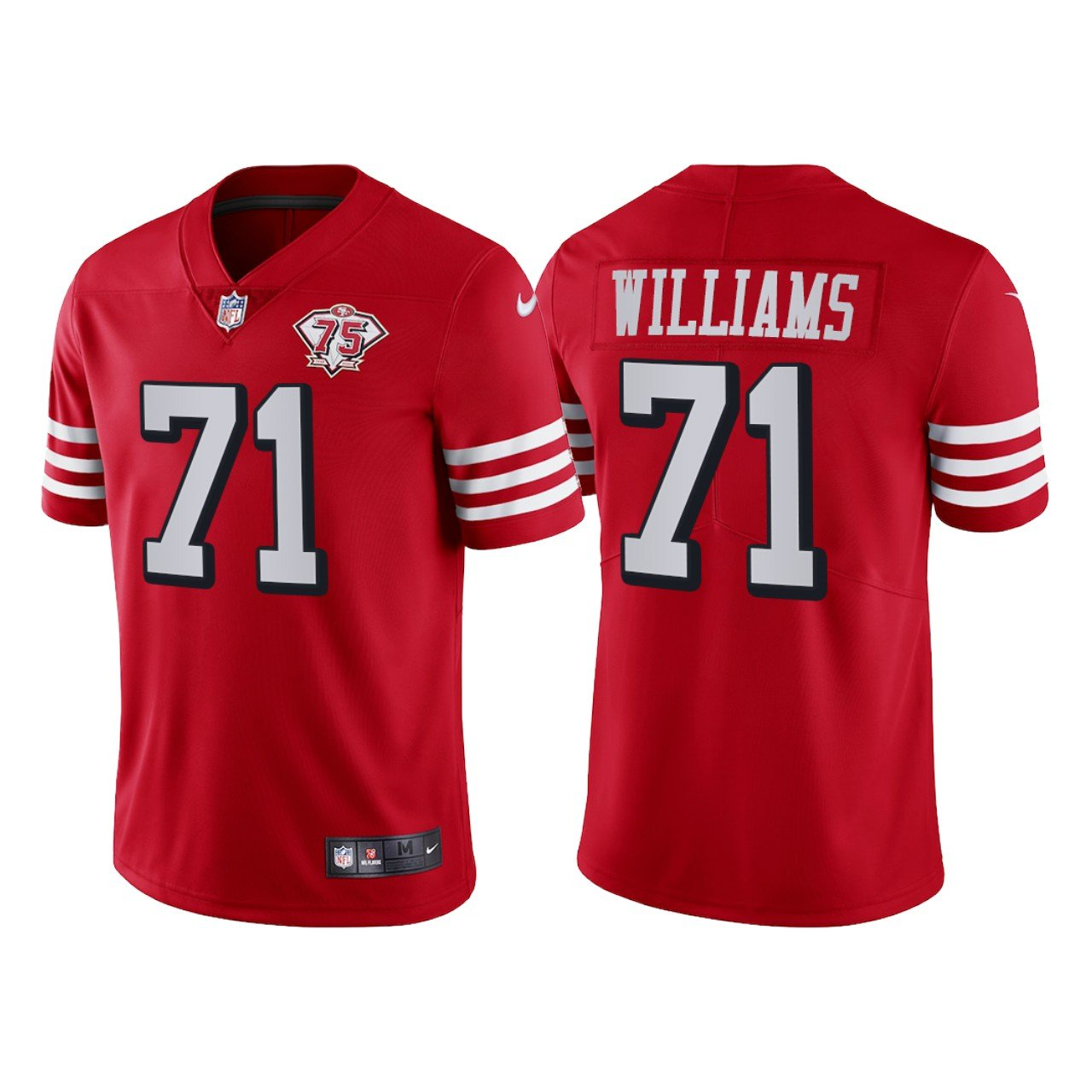 Men's #71 Trent Williams San Francisco 49ers Red Throwback Limited Jersey 75th Anniversary Stitched