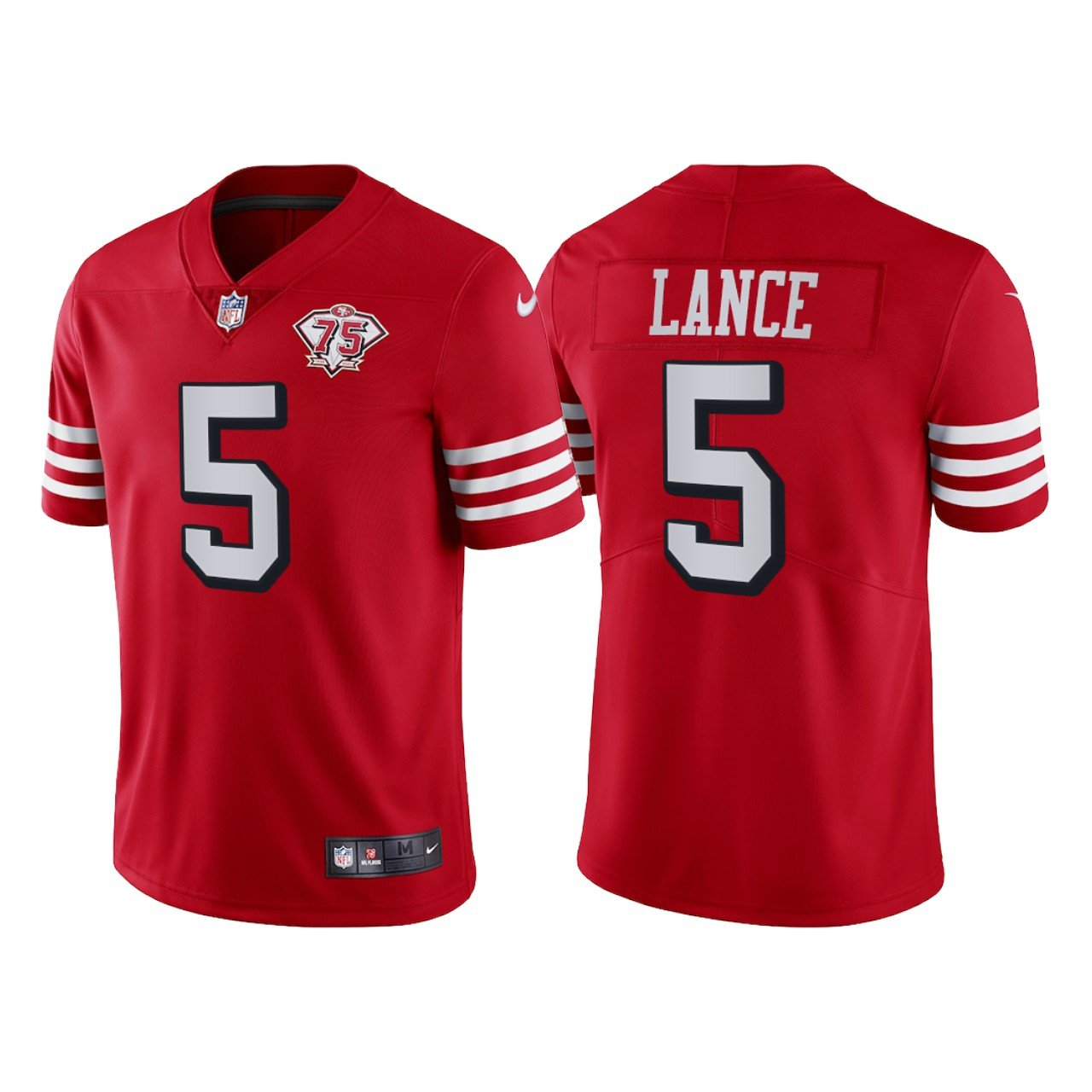 Men's #5 Trey Lance San Francisco 49ers Red Throwback Limited Jersey 75th Anniversary Stitched