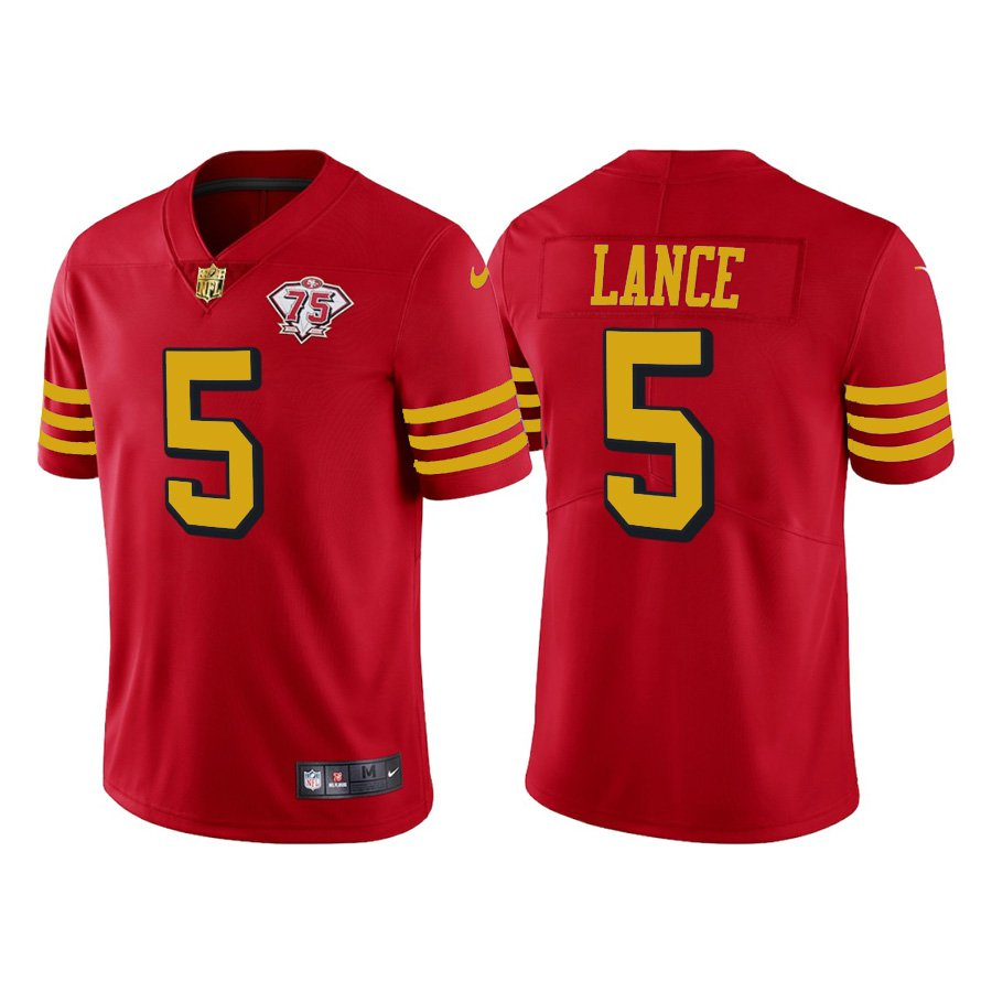 Men's #5 Trey Lance San Francisco 49ers Red Throwback Color Rush Jersey 75th Anniversary Stitched