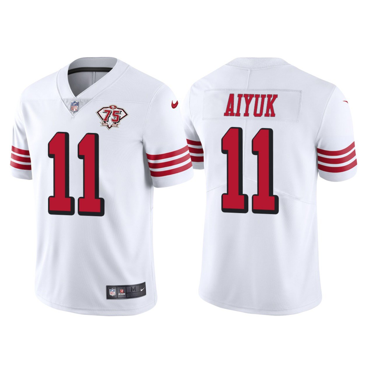 Men's #11 Brandon Aiyuk San Francisco 49ers White Throwback Limited Jersey 75th Anniversary Stitched