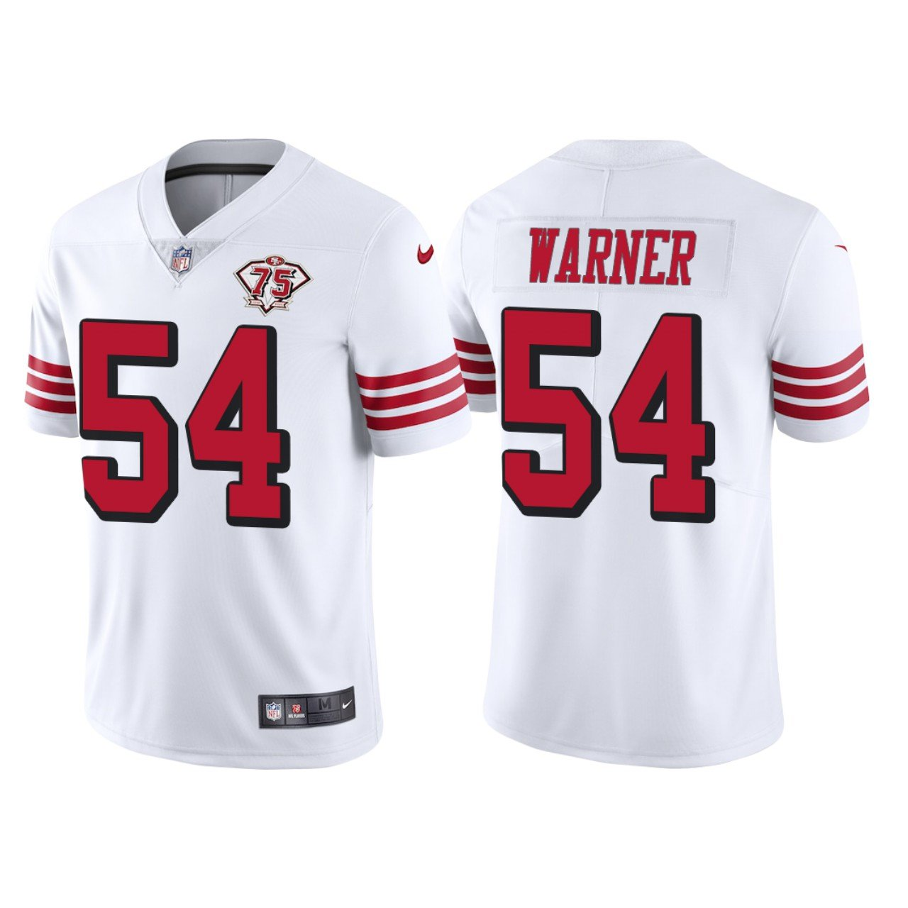 Men's #54 Fred Warner San Francisco 49ers White Throwback Limited Jersey 75th Anniversary Stitched