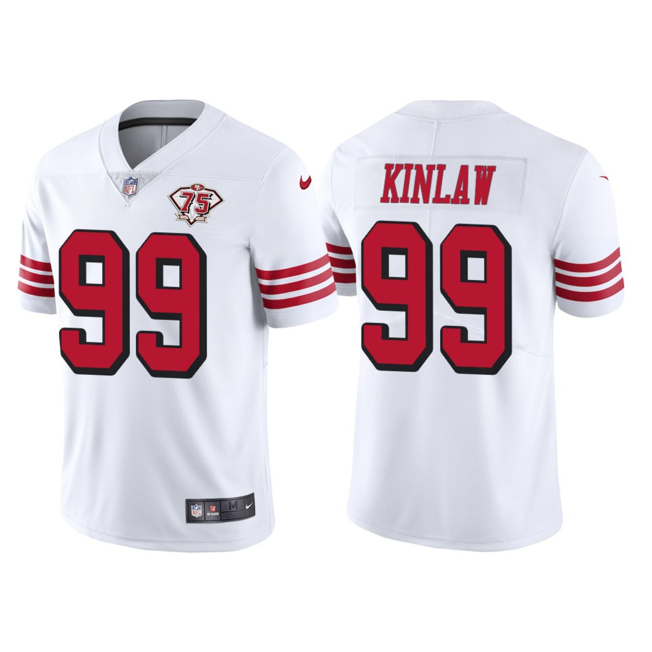 Men's #99 Javon Kinlaw San Francisco 49ers White Throwback Limited Jersey 75th Anniversary Stitched