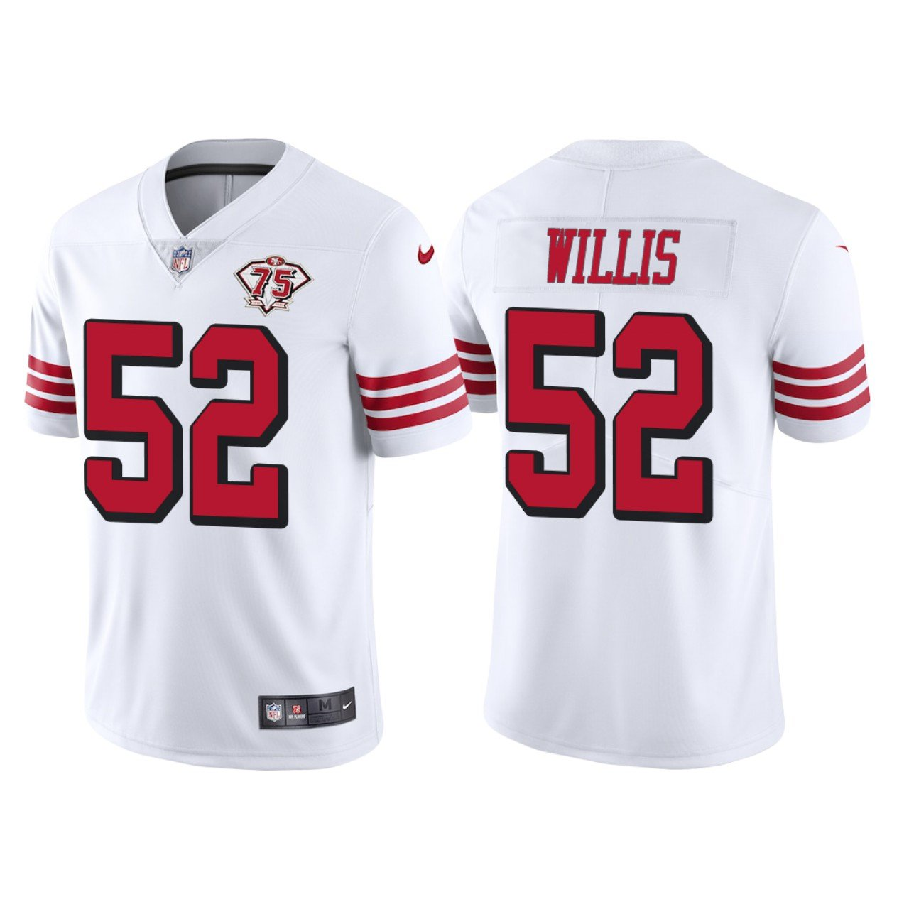 Men's #52 Patrick Willis San Francisco 49ers White Throwback Jersey 75th Anniversary Stitched