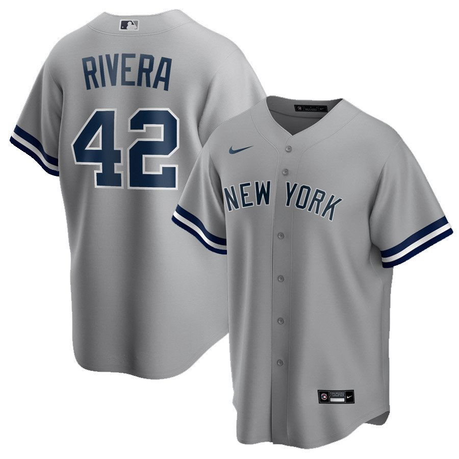 Men's New York Yankees #42 Mariano Rivera Gray Road Name Stitched Jersey Replica