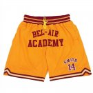 Men's Bel Air Academy #14 Smith Basketball Shorts Yellow Sports Pants Stitched