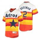 Men's #2 Alex Bregman Houston Astros Cooperstown Rainbow Jersey Stitched