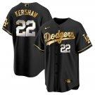 Men's #22 Clayton Kershaw Los Angeles Dodgers Black Golden Replica Jersey Stitched