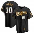 Men's #10 Justin Turner Los Angeles Dodgers Black Golden Replica Jersey Stitched