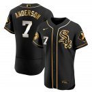 Men's Chicago White Sox #7 Tim Anderson Black Golden Jersey All Stitched