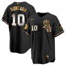 Men's #10 Yoan Moncada Chicago White Sox Black Golden Replica Jersey Stitched