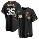 Men's #35 Frank Thomas Chicago White Sox Black Golden Replica Jersey Stitched