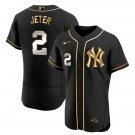 Men's New York Yankees #2 Derek Jeter Black Golden Jersey All Stitched