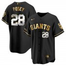 Men's #28 Buster Posey San Francisco Giants Black Golden Replica Jersey Stitched