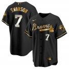 Men's #7 Dansby Swanson Atlanta Braves Black Golden Replica Jersey Stitched
