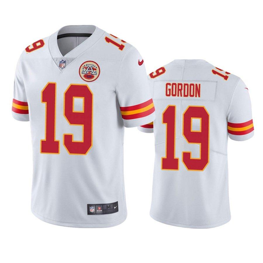 Men's #19 Josh Gordon Kansas City Chiefs White Vapor Limited Football Jersey Stitched