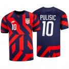 Men's #10 Christian Pulisic USMNT Away Stadium Soccer Jersey 2021/22 Shirts - Navy Red