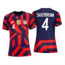 Women's #4 Becky Sauerbrunn USWNT Away Soccer Jersey 4-Stars 2021/22 Shirts - Navy Red