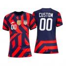 Women's Custom USWNT Away Stadium Soccer Jersey 4-Stars 2021/22 Shirts - Navy Red