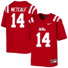 Men's #14 DK Metcalf Ole Miss Rebels Football Jersey NCAA College Stitched - Red