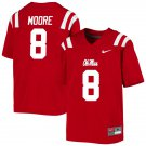 Men's #8 Elijah Moore Ole Miss Rebels Football Jersey NCAA College Stitched - Red