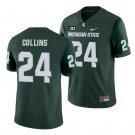 Men's Michigan State Spartans #24 Elijah Collins MSU College Football Jersey Green Stitched