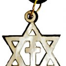 Pearly Star of David & Cross Necklace