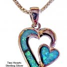 Two Hearts Necklace - Silver with Opal Stones