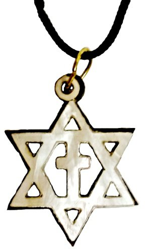 Pearly Star of David & Cross Necklace - Silver