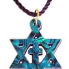 Pearly Star of David & Cross Necklace  - Blue