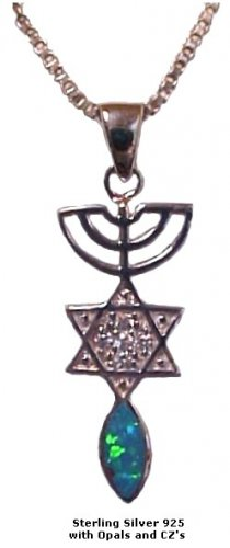 Menorah, Star & Fish Silver & with Opal and CZ's -1217-23b