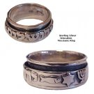 Jerusalem Star Fish & Menorah Messianic Silver Ring - SIZE 12