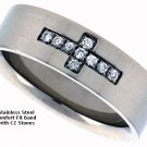 Stainless Steel Flat Cross Band with CZ Stones - Size 8