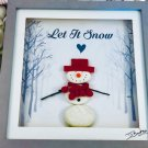 ASgift01 - Christmas gift - Hand made pebble art picture - Snowman - Let it snow
